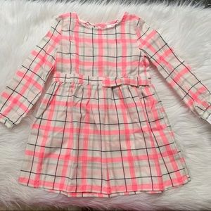 Carter's Pink Plaid Bow Accent Cotton Dress NWT